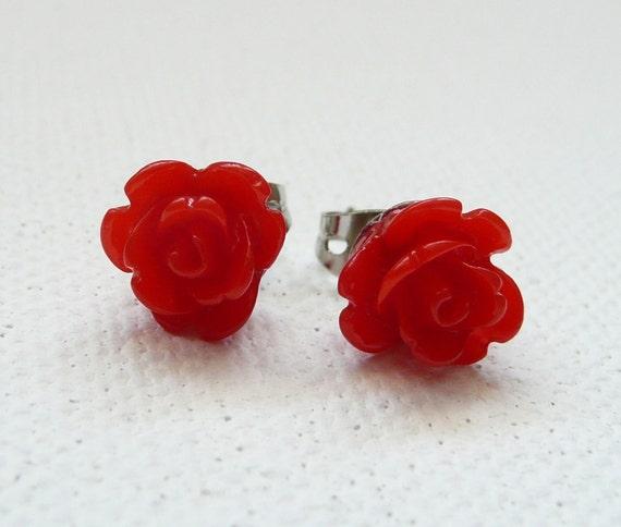 ns-Petite Red 3d Clay Rose Stud Earrings