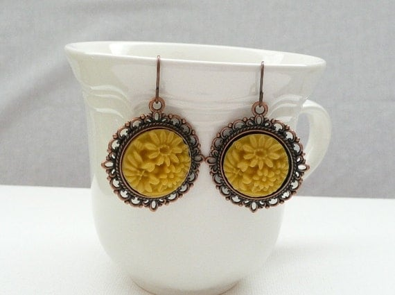 Vintage Style Copper and Mustard Yellow Dangle Earrings