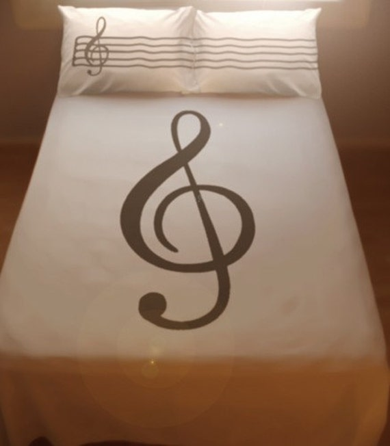 Treble Clef Sheet Music DUVET COVER and 2 PILLOWCASES Musical Notes Lines