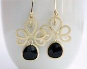 Black and Gold Earrings Dangle Earrings Black earrings