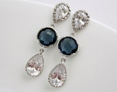 Bridesmaid earrings Clear Cubic Zirconia Teardrop Earrings Silver Post Sapphire Blue Bridal Earrings