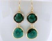 Emerald Green Earrings Dangle Earrings Rosecut Glass Gold Earrings