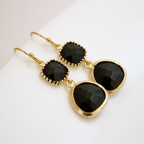 Black and Gold Earrings Glass