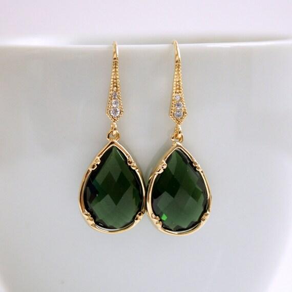 Gold Earrings Emerald Green Glass Teardrops