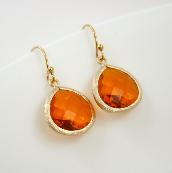 Orange Jewelry Dangle Earrings Fire Opal Glass Gold Earrings Orange earrings