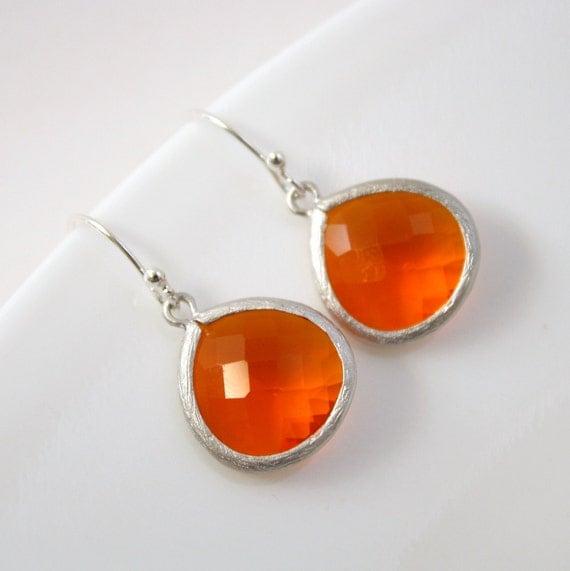 Fire Opal Glass Silver Earrings Orange earrings