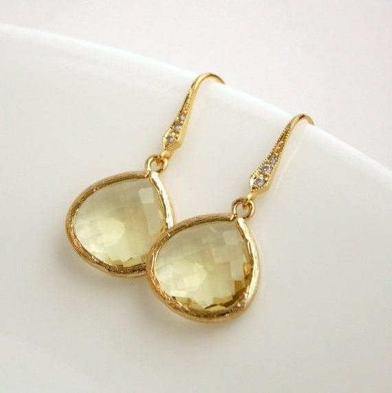 Gold Earrings Dangle Earrings Jonquil Yellow Earrings Cubic Zirconia