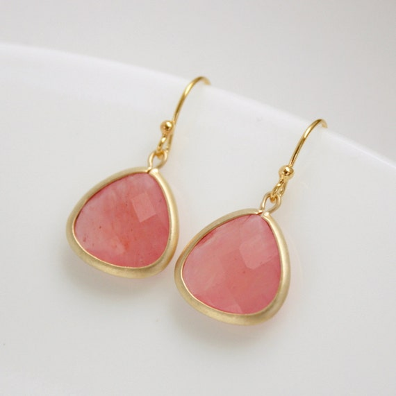 RESERVED for Nelya Gold Earrings Pink Agate Pink Earrings