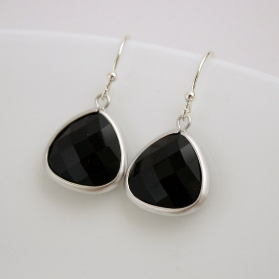 Silver Dangle Earrings Black Onyx Black Earrings