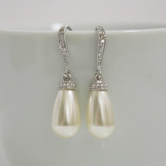 Wedding Jewelry Pearl Jewelry Cream Pearl Earrings Bridal Earrings Cubic Zirconia Teardrop Silver Earrings