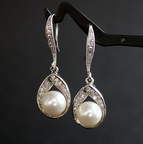 Wedding Jewelry Bridal Earrings Cubic Zirconia Drops with White Swarovski Pearls Cubic Zirconia Earwires Silver