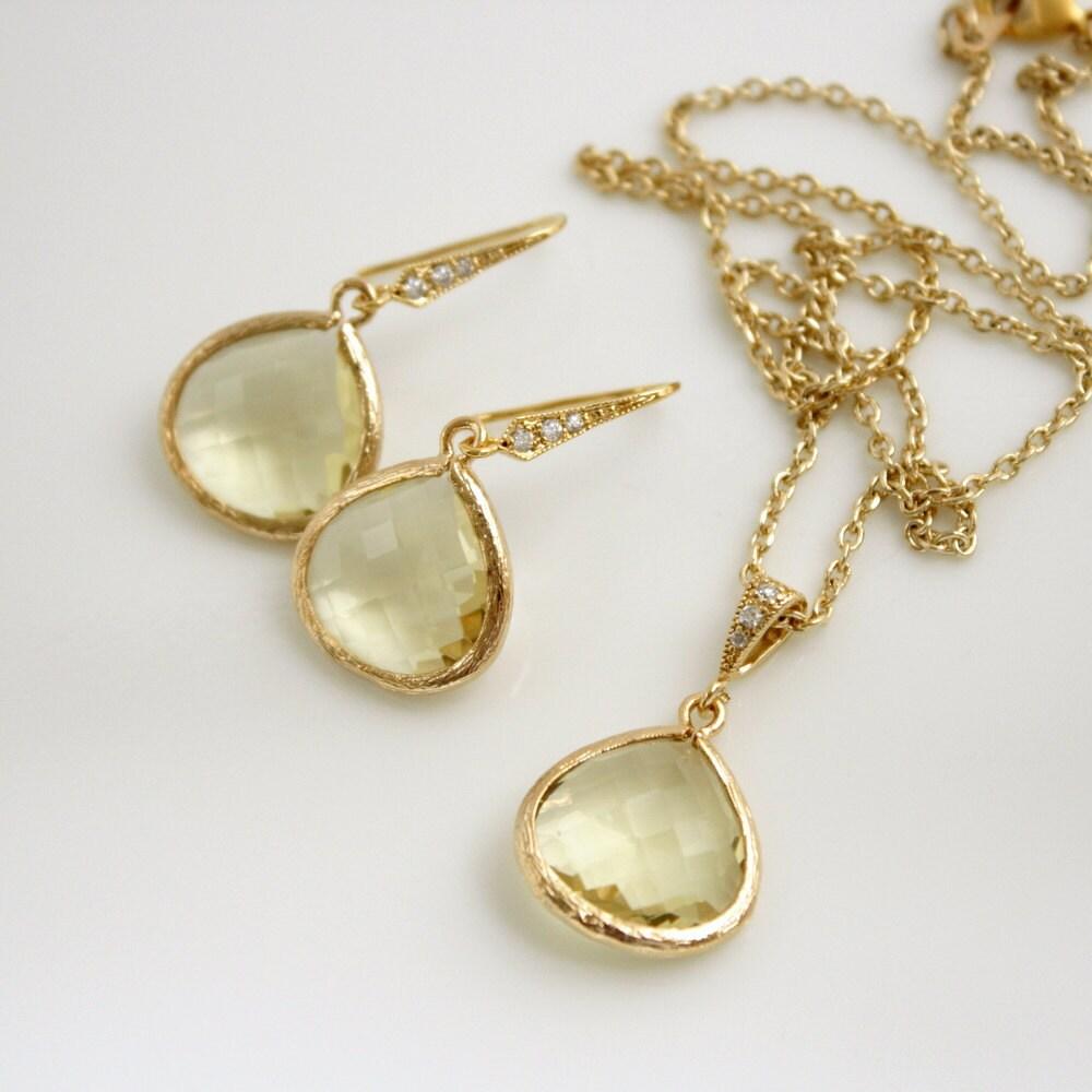 bridal jewelry set jonquil yellow gold wedding jewelry sets Zirconia Bridesmaid Jewelry zoom