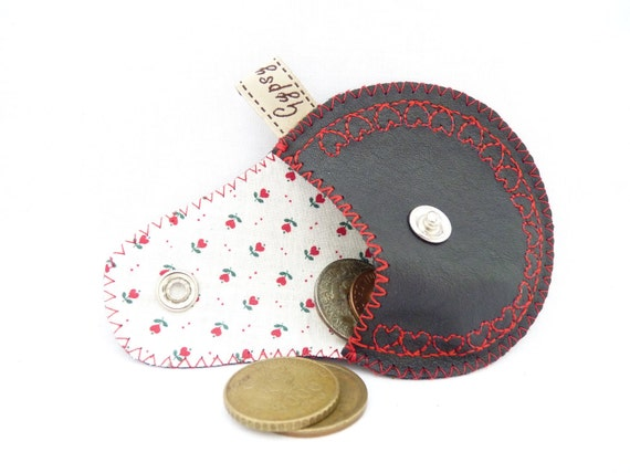 The Mini Gypsy Vintage Valentine / Black Leather with Embroidered Hearts and Applique / Ready to Ship