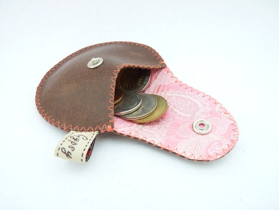 The Mini Gypsy Change Purse Brown Leather and Pink Vietnamese Silk Lining / Ready to Ship