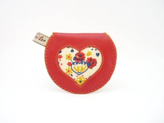 Love Birds Mini Gypsy Coin Purse in Leather and Vintage Fabric / Ready to Ship / Last One