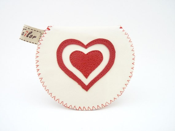 The Mini Gypsy Valentine / Ivory Leather with Cute Leather Applique / Made to Order