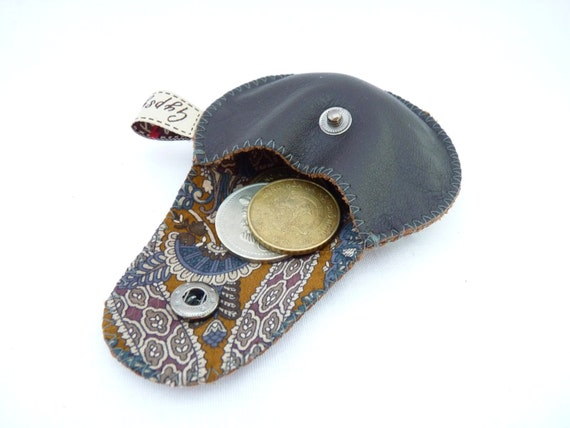 Brown Leather and Recycled Necktie Mini Gypsy Guys / Coin Purse for Men / Ready to Ship