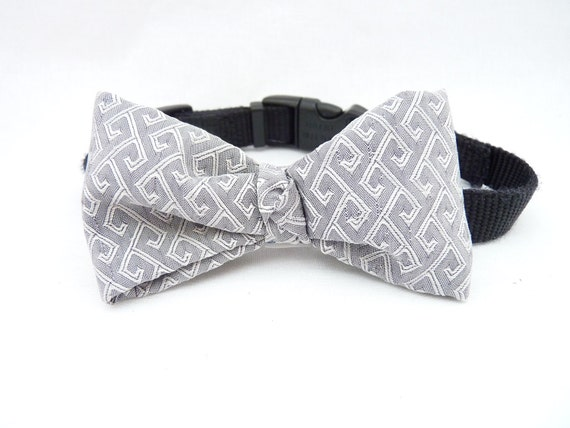 """Pet Bow Tie / The """"BubbaBow"""" Tie for Happy Pets Grey Silver Vietnamese Silk / Pet Ring Bearer"""