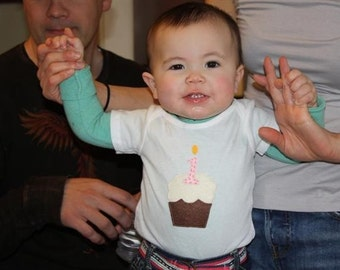 First Birthday Cupcake Bodysuit