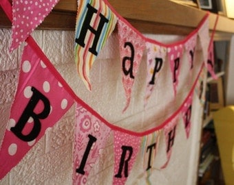 Pink, Pink, Pink Reversible Fabric Happy Birthday Banner