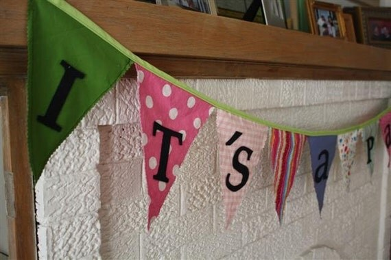 Reversible Fabric 'It's A Party' Banner