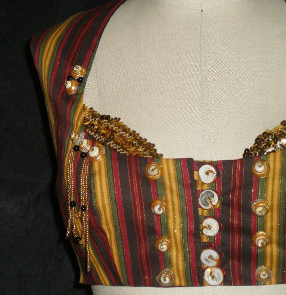 "Belly Dance Costume, Striped Vest, Tribal or Gypsy, ""Equinox 3"""