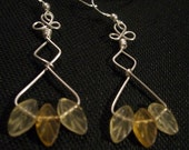 Wire Wrapped Sterling Silver Earrings Glass Leaves