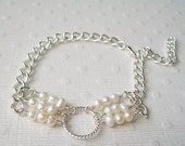 White Pearls Silver Chain Bracelet