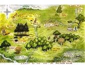 Map of the Hundred Acre Woods -Winnie The Pooh by E.H. Shepard   - Vintage Art Reproduction