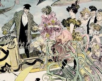 La Sortie de l'opéra en l'an 2000 - Fabulous Futuristic French Print  - Vintage Art Reproduction