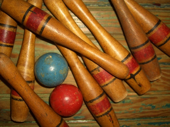 Reserved...Busterkitty7958....Wood Bowling Pins &  2 Balls Old Paint