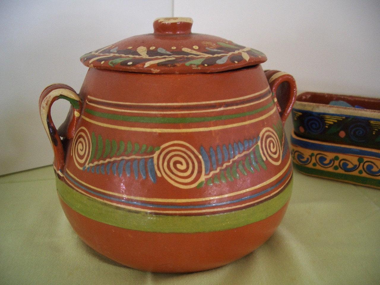 Vintage Mexican Pottery Bowl Amp Lid Tlaquepaque