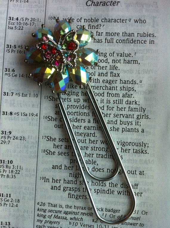 Giant Paperclip Jeweled Butterfly Embellished Bookmark