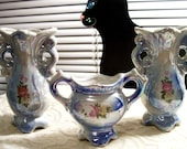 Vintage Blue Lustre Porcelain Vase Planter Set