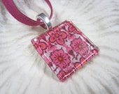 Glass Tile Pendant - Beautiful Pink Flowers..FREE Necklace..scrabble tile pendant