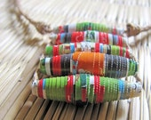 Spring jewelry - Recycled paper bead jewelry - Hippie jewelry - Spring, Summer, hippie, hippy, recycled - Orange, Red, Lime Green, White