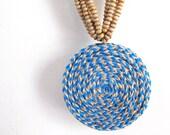Eco friendly jewelry - Blue hemp necklace - Bold statement necklace - Eco friendly, hemp, bold, Circle, Round, Aqua, Electric Blue, Brown