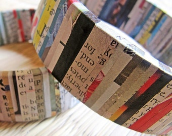 Newspaper Bracelet - Recycled jewelry - Newspaper jewelry - Recycled Bracelet - Upcycled Jewelry - Upcycled Bracelet - Recycled Newspaper