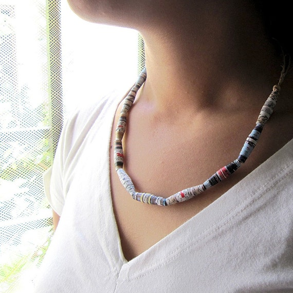 Recycled Paper Bead Necklace FREE SHIPPING
