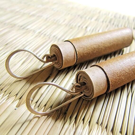 Rustic Brown Earrings - Brown earrings - Recycled paper jewelry - Recycled Earrings - Brown and beige earrings - Recycled paper earrings