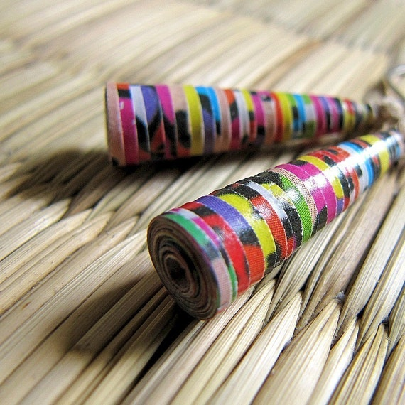 Colorful Earrings - Paper bead jewelry - Small earrings - Funky, stripe - Unique pair of Earrings - Fuchsia Pink, Yellow, Green, Blue