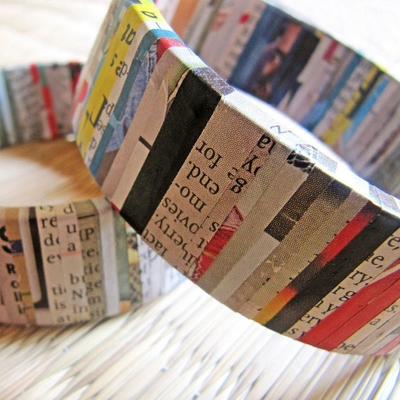 Paper jewelry - Newspaper Bracelet - Recycled jewelry - Upcycled Jewelry - Eco friendly jewelry - First Anniversary gift - Eco jewelry