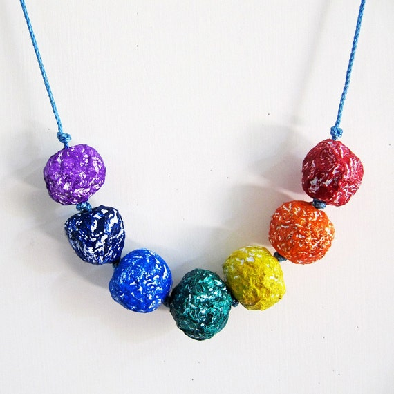 Items similar to rainbow paper mache bead necklace for How to make paper mache jewelry