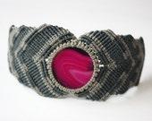 Thick macrame bracelet with agate stone boho hippie