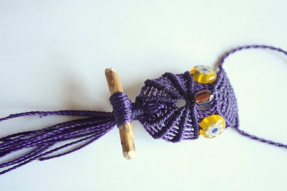 Purple owl necklace macrame real wood branch glass eyes