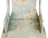 Baby Blue Decorated Wood Chair for Children- Handpainted w White Daisies