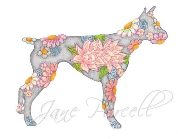 Pink Lotus Flower Boxer Dog 10 x 8 Floral Art Print- Wall Art Home Decor