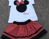 CUSTOM Minnie Mouse skirt and shirt RED