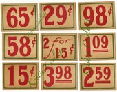 Vintage grocery store price tags, red with green stripe
