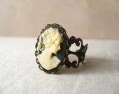victorian lady. ring. (black cream lady cameo. antique brass ornate filigree. adjustable band.)